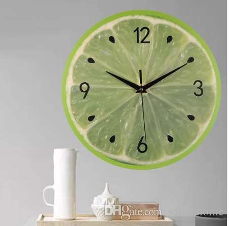 Kreative Runde Digital Wanduhren Modern Style Wohnzimmer Schöne  Wassermelone Zitrone Kiwifruit Fruchtform Hängende Uhr # 10
