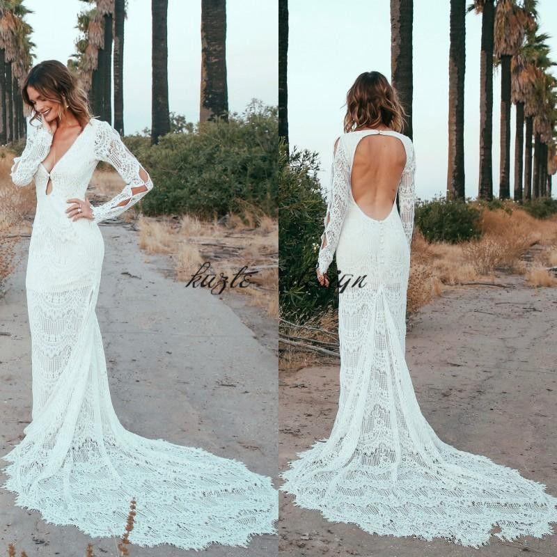 Latest 2018 Crochet Lace Long Sleeve Mermaid Wedding Dresses Country ...