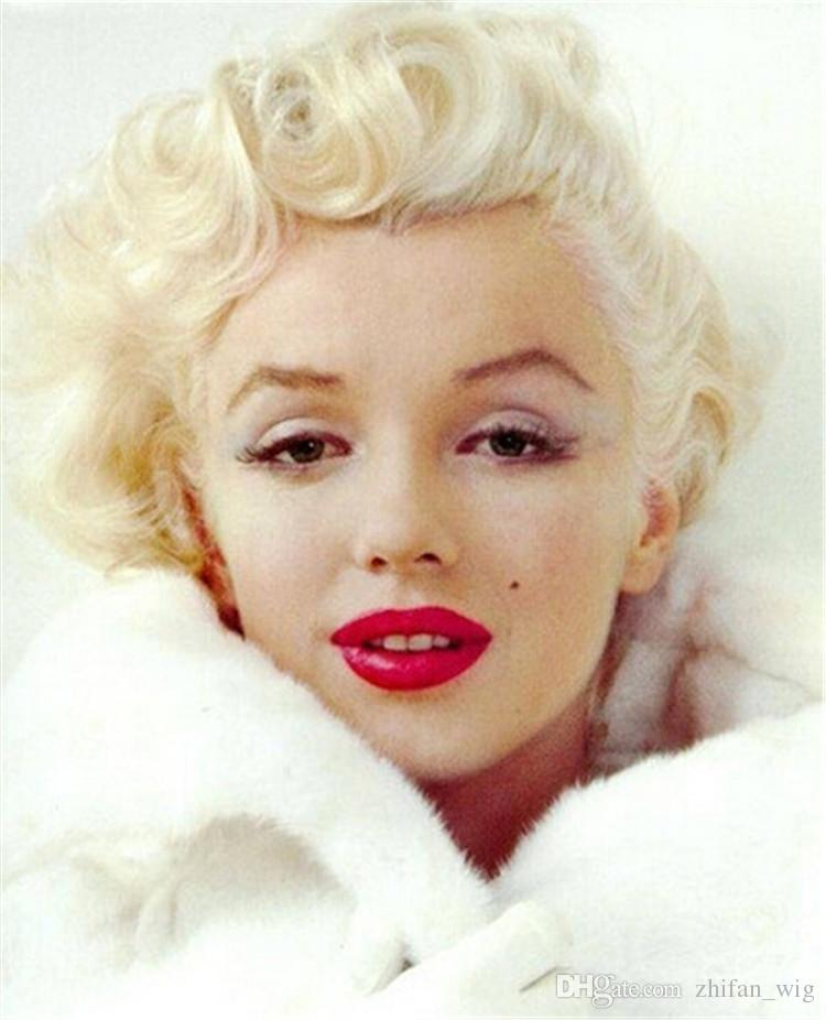Z&F Marilyn Monroe Wigs Vintage Blonde Rose Hair Net Fashi Hair Short Nature Wave Curly Sexy Lady Cosplay Costume Halloween Party