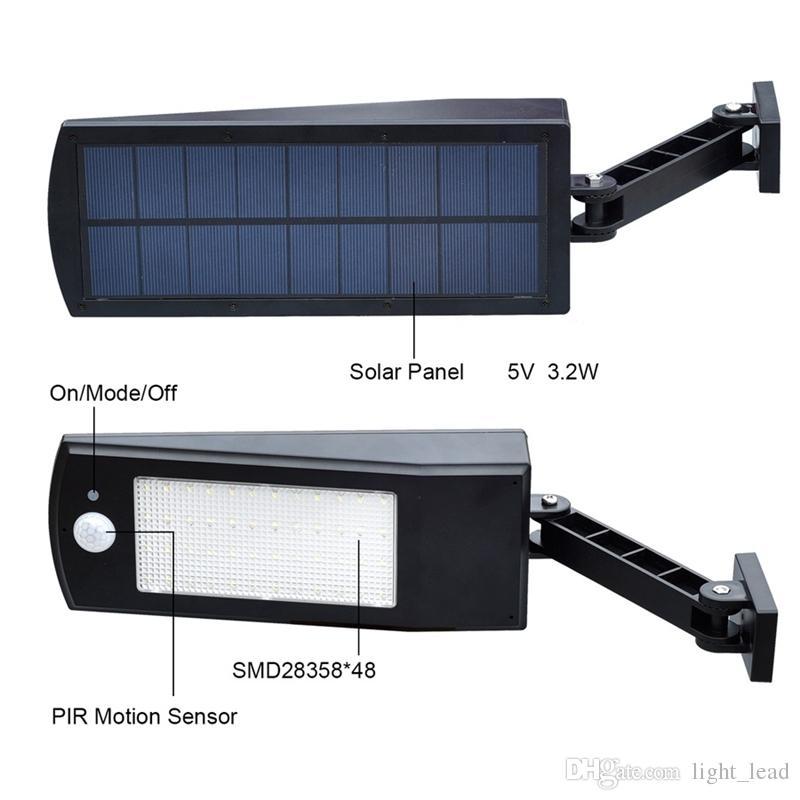 48 LED Solar Light 900LM LED Wall Lamp PIR Sensor Motion 4 Modes Emergency Lights With Adjustable Pole for Garden Outdoor Lighting