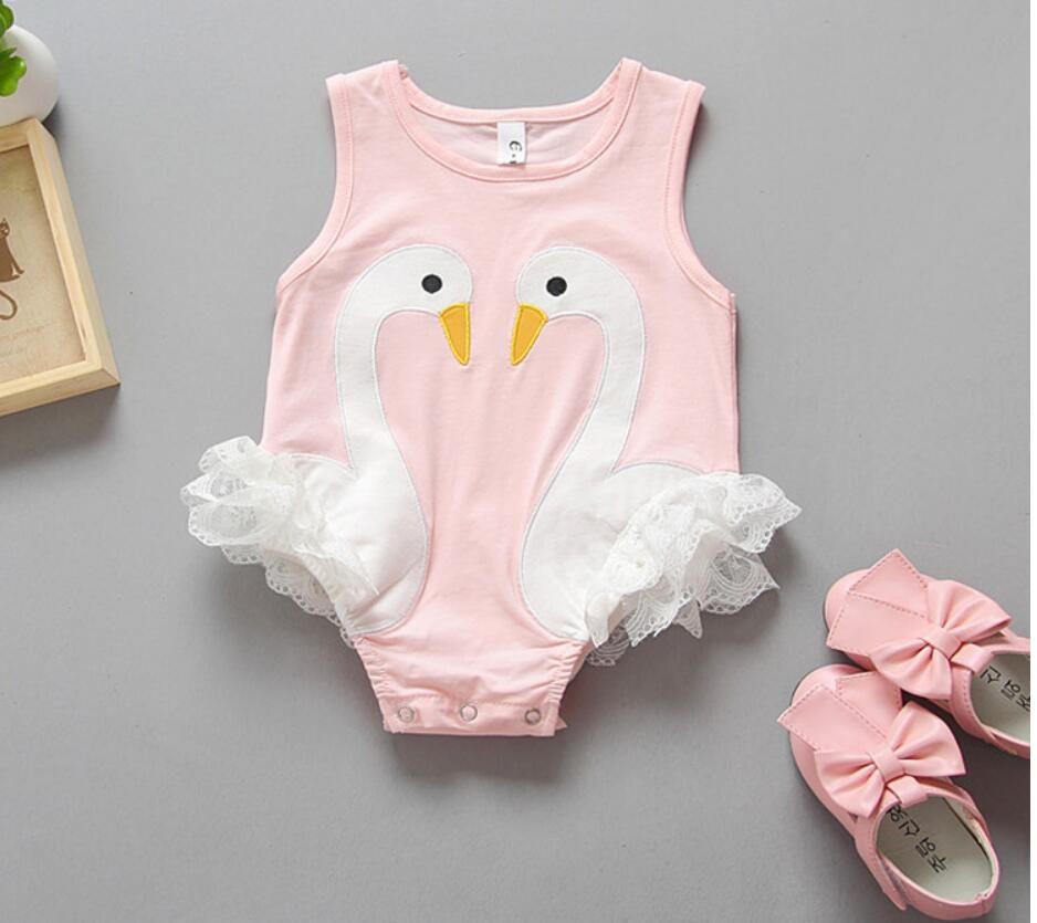 70-100 taille nouvelle conception d'arrivée en gros nouveau printemps cygne rose noir bébé barboteuses nouveau-né 100% coton tyle /