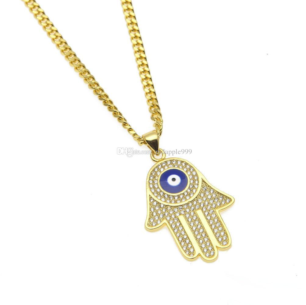 New Blue Evil Eye pendant necklaces Hamsa Hand of Fatima Charm Long Cuban chains For women&men Hip Hop Fashion Jewelry