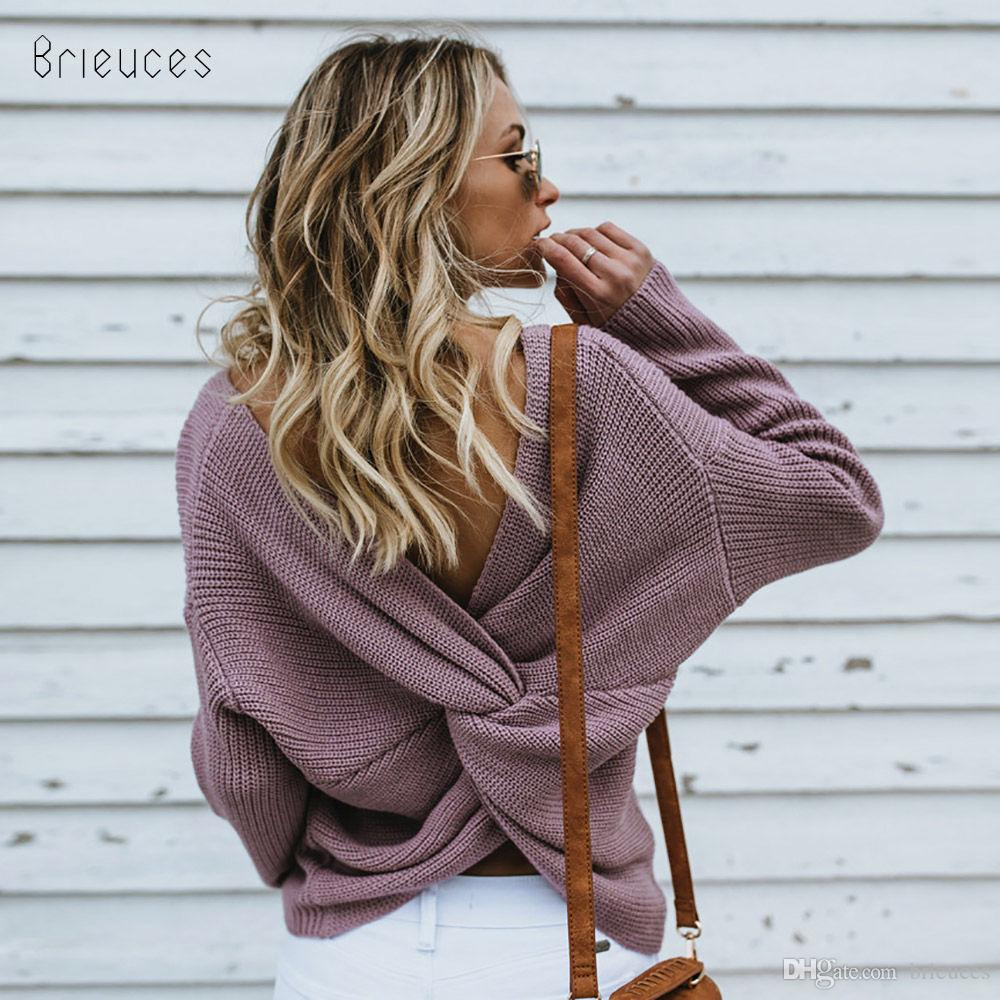 23ab30f93f132 Brieuces Autumn Winter Knitted Sweater Pullover Women Loose Sweater ...