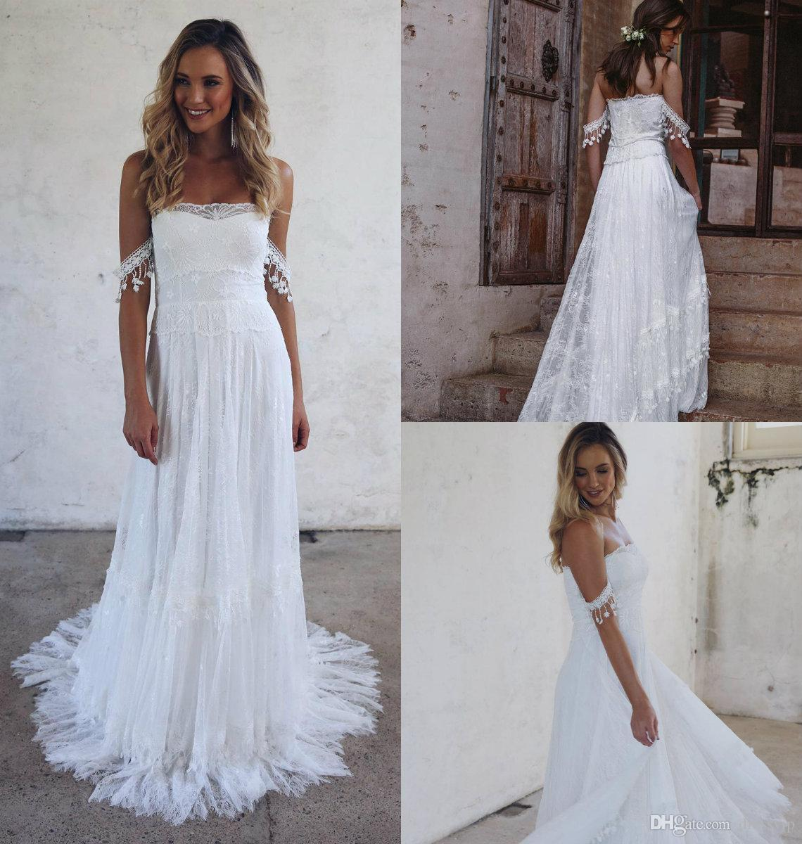 Discount 2019 Cheap Wedding Dresses Off The Shoulder Lace A Line