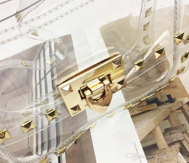 2017 New Fashion PVC Transparent Bag Clear Rivet Tote Shoulder Bag Women Messenger Cross Bag