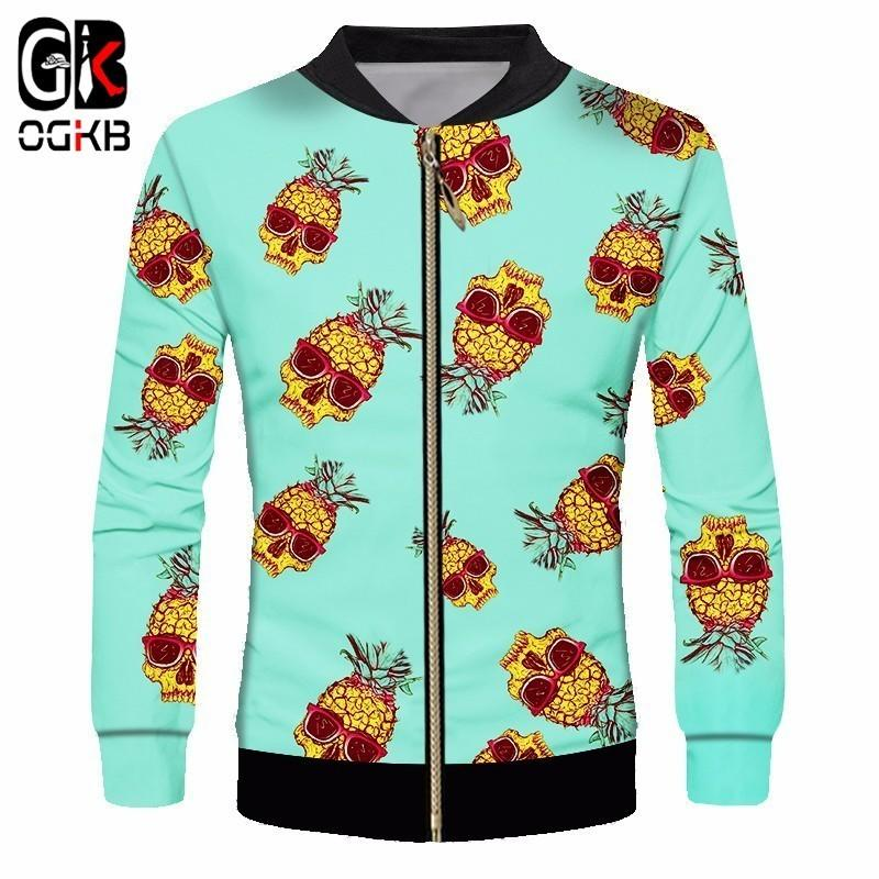 OGKB 2018 Spring Fall Causal Men/women 3d Printed Pineapple With Sunglasses Cool Funny Jacket Unisex Long Sleeve Sweatshirt 6xl