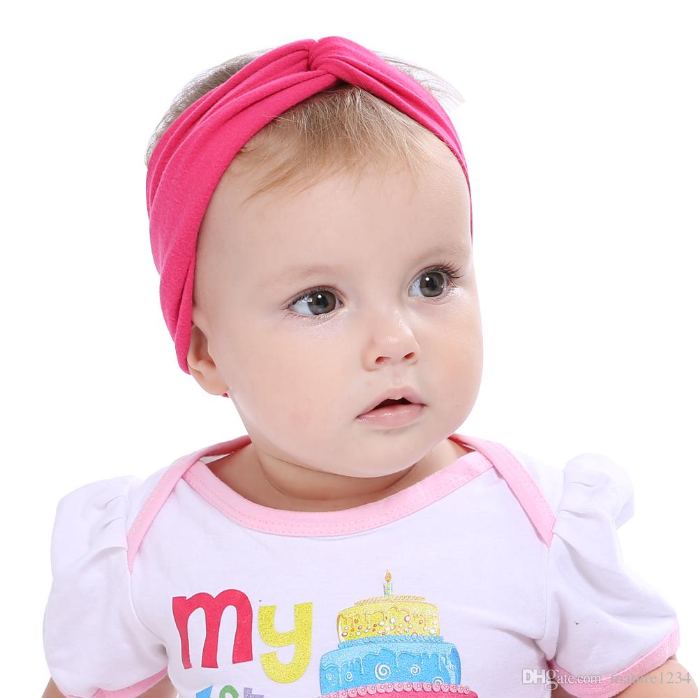 1777471cfe4 New Baby Girl Solid Knot Headband Kids Cotton Turban Knitted Hair  Accessories Children Cross Headwear For Children Womens Hair Clips Hair  Band For Women ...