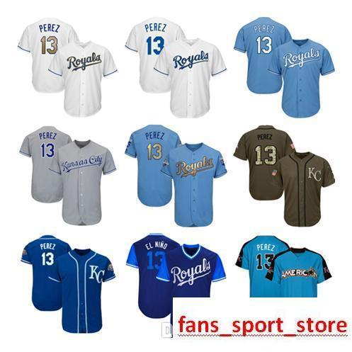 68be736d45d Men Women Youth Royals Jerseys 13 Perez Jersey Baseball Jersey White ...