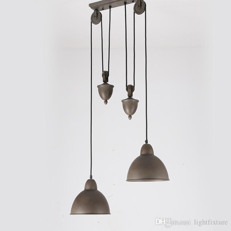 Nordic American Country Vintage Loft Pulley Pendant Lamp Cafe