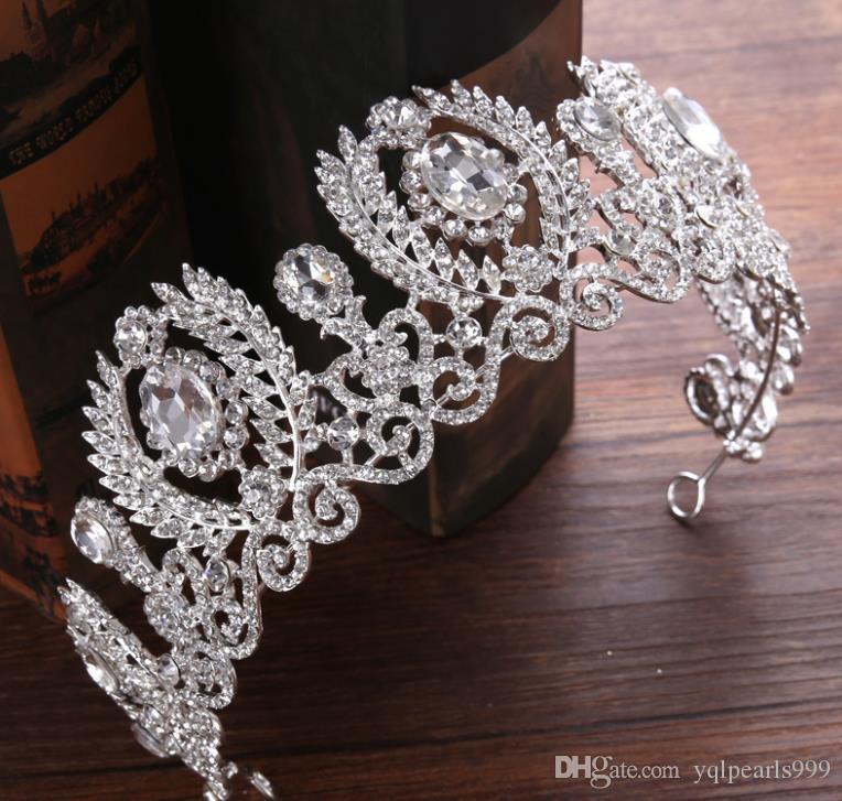 Yeni gelin şapkalar Barok nefis Taç Prenses Gelin taç elbise aksesuarları