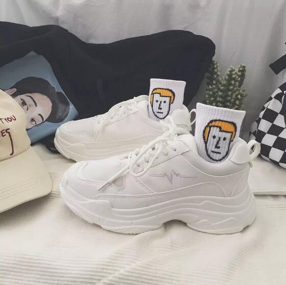 a0e041952eb4 Genuine Leather + Mesh Women s Platform Dad Sneakers 2018 Fashion ...