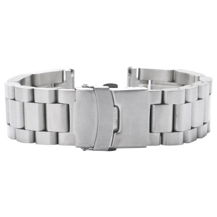 High Quality 22mm/24mm/26mm Silver Solid Stainless Steel Band Men Bracelet Safety Fold Clasp Replacement Watch Strap
