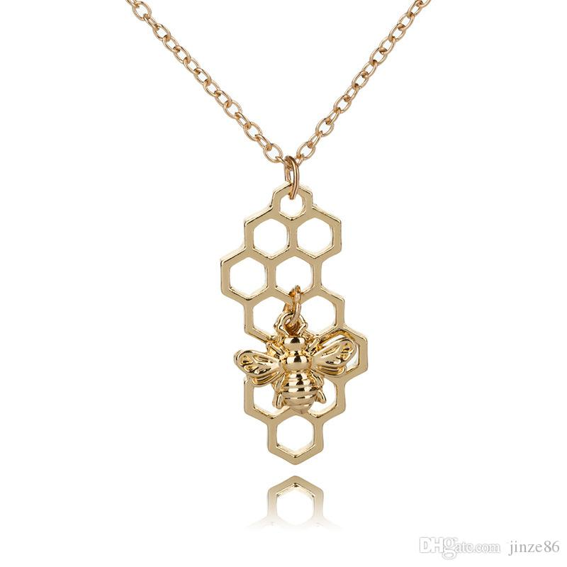 Fashion Alloy Bee Necklaces Golden Silver Honeycomb Bee Animal Pendants Women Girls Trendy Lovely Pendants Necklaces Jewelry For Gift