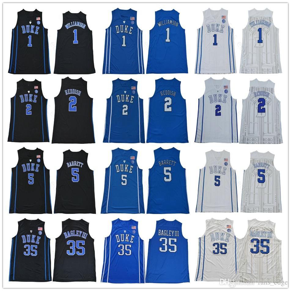 quality design 900f0 40e4b NCAA Duke Blue Devils College 1 Zion Williamson 2 Cam Reddish 5 RJ Barrett  35 Marvin Bagley III Tatum Irving Stitched Basketball Jersey