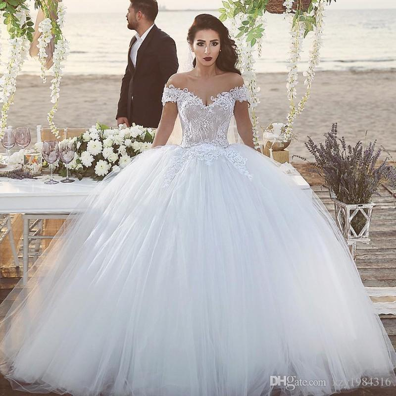 Glamorous Fluffy Tulle Wedding Dresses Lace Appliques Off Shoulder Lace Up Ball Gown Bridal Dress Glamorous Saudi Arabia Wedding Dresses Designer Gowns Dresses For Sale From Xzy1984316 202 71 Dhgate Com
