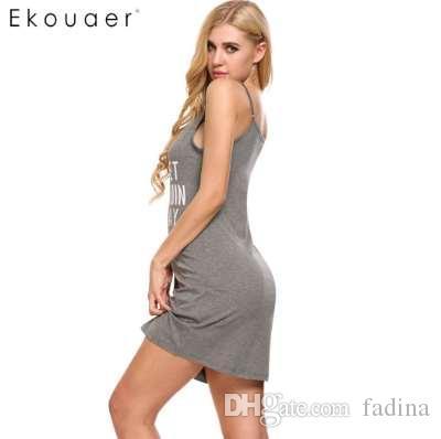 bede871fad Ekouaer Women Letter Print Nightgown Sleep Lounge Dress Sleepwear Sexy  V-Neck Dress Slim Home Clothes Nightwear S M L XL XXL Women Nightwear Women  Sexy ...