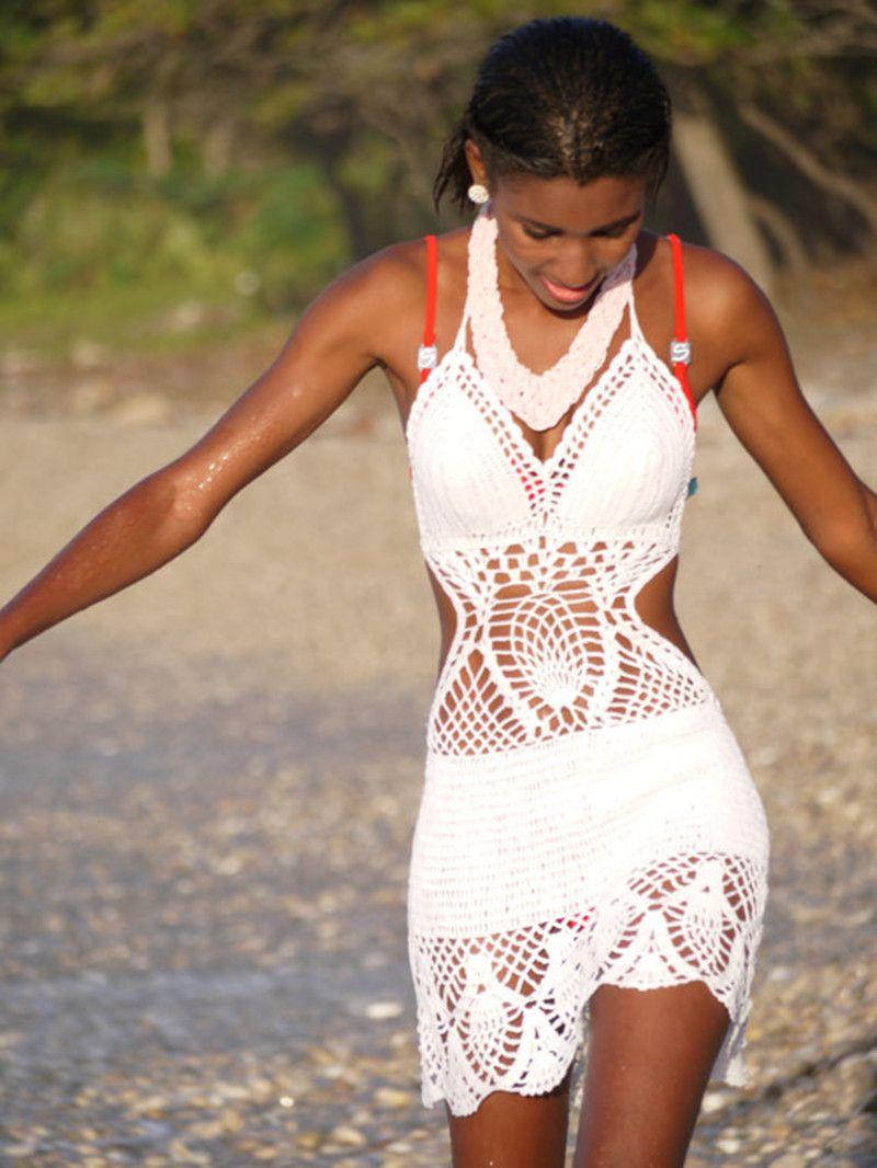 Crochet bikini, Cream Bikini summer trends, women swimsuit, bathing suit, women swimwear, women beach wear / FORMALHOUSE