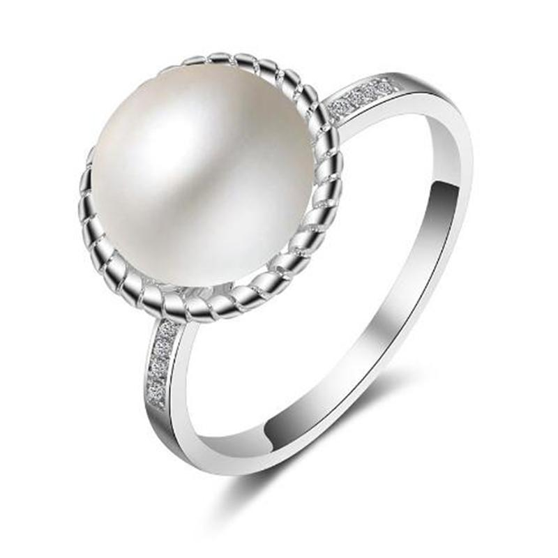whole saleTop Quality Elegant 9mm White Freshwater Pearl Crystal Ring 925 Sterling Silver Austrian Crystal Jewelry US Size 7 Wholesale