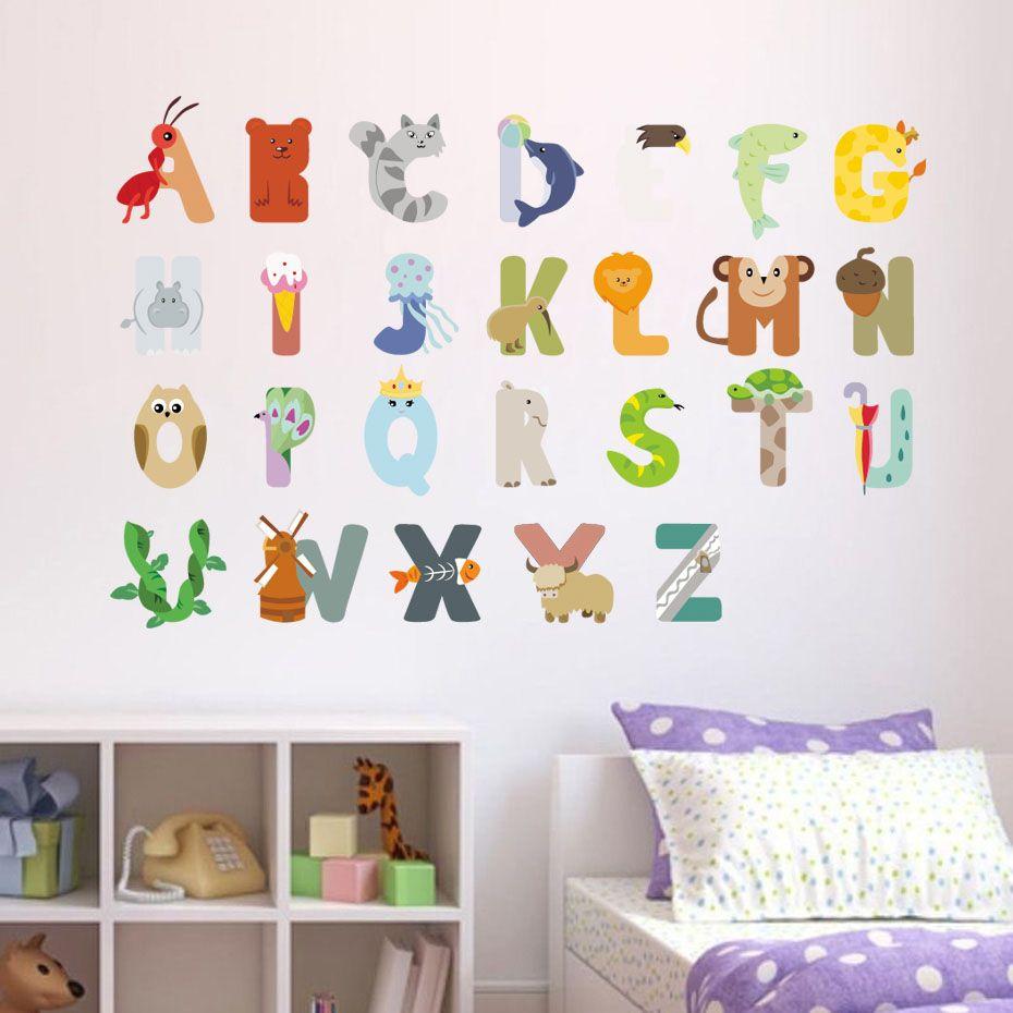 Diy Cartoon Abc Letter Wall Sticker Pvc Cute Animal Kids Room Wall