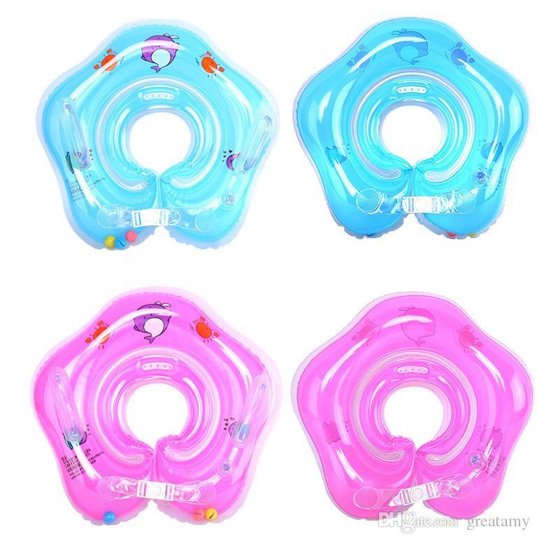 Natación del bebé natación cuello flotador anillo inflable tubo ajustable ayudas de seguridad recién nacido bebé baño baño anillos de juguete