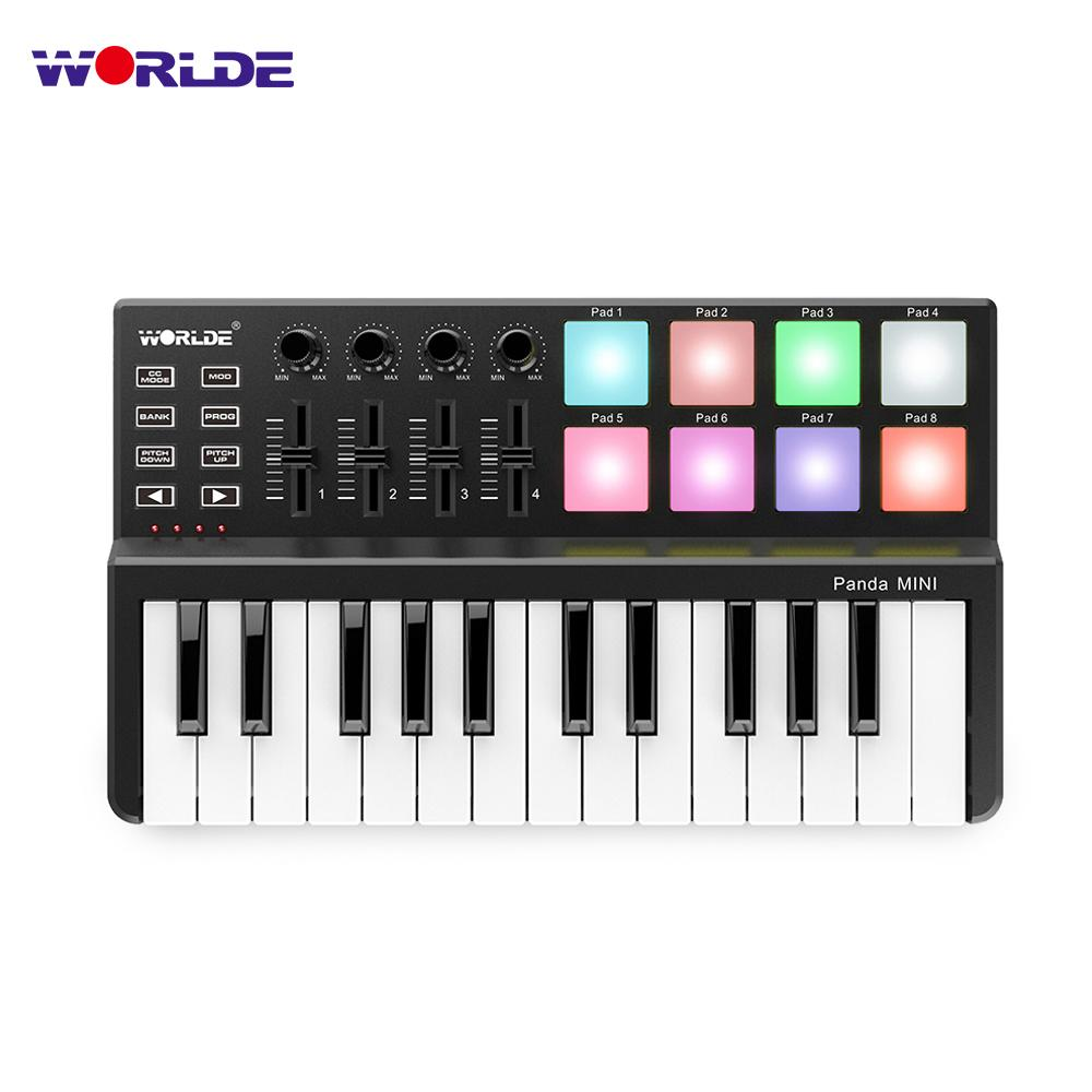 wholesale Panda MIDI Keyboard 25 Keys Mini Piano USB Keyboard and Drum Pad MIDI Controller