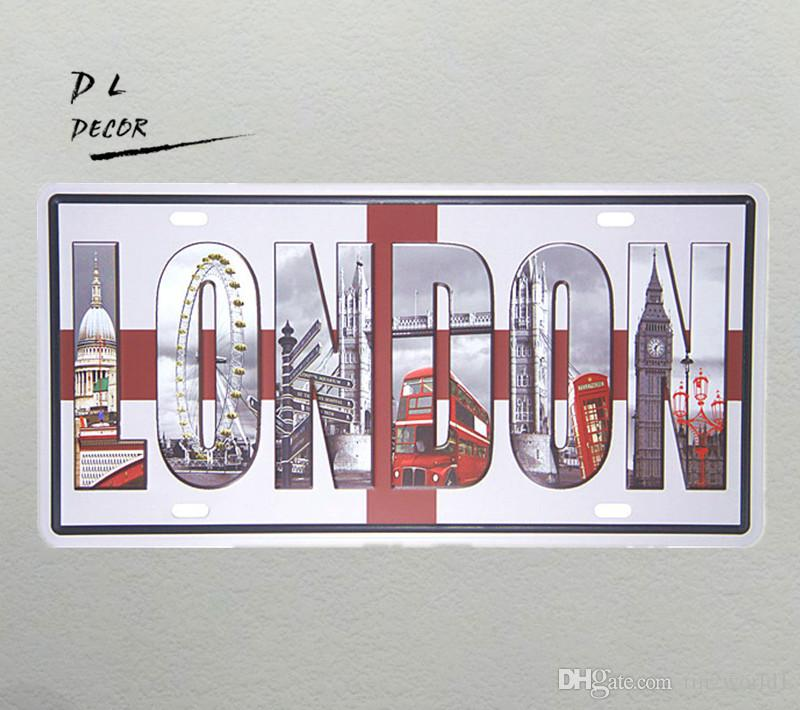 "DL- ""LONDON"" Britain Vintage License plate crafts wall stickers home decor living room"