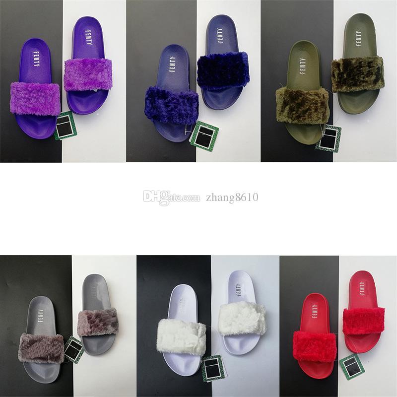 26b46577c7c9 Leadcat Fenty Rihanna Shoes Classical Brand Women Sandals Fashion Scuffs  Pink Black White Grey Faux Fur Slides Color Designer Slipp Online with   20.58 Pair ...