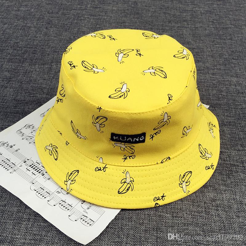 6927a600aea Bucket Cap Man Women Unisex Cotton Banana Hat Bob Caps Hip Hop Cool ...