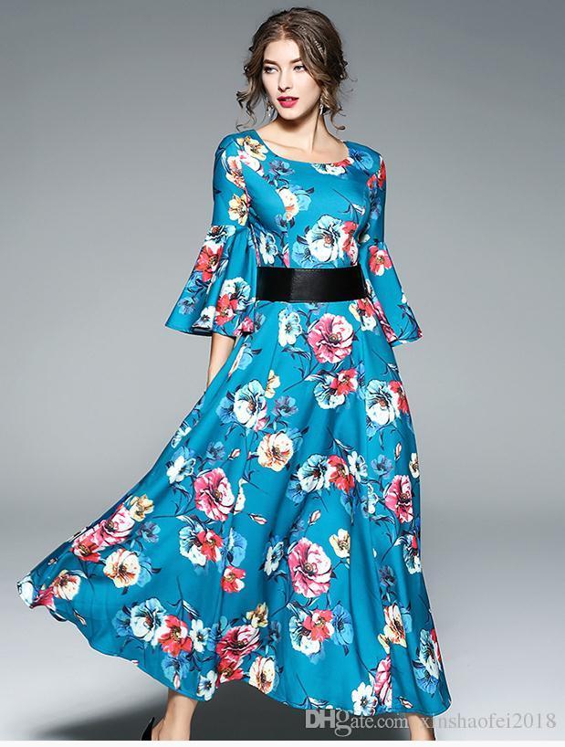 a91209e2297 Compre Vestido Largo Estampado De Mujer 2018 Vestido Bohemio Estampado De  Flores De Otoño Nueva Trompeta A  27.42 Del Xinshaofei2018