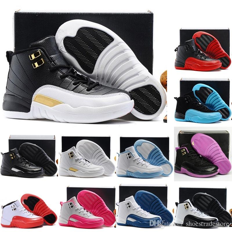 new york 0cda7 3b0db Boys Girls 12 12s Kids Basketball Shoes Childrens 12s Gym Red Pink And  White Purple French Blue Toddlers Birthday Gift