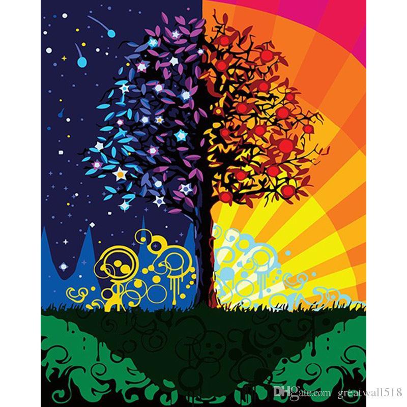 BELLEZA 40x50 cm pintura enmarcada en la lona diy pintura al óleo digital por números Color árbol decoración artesanal paisaje XC-052
