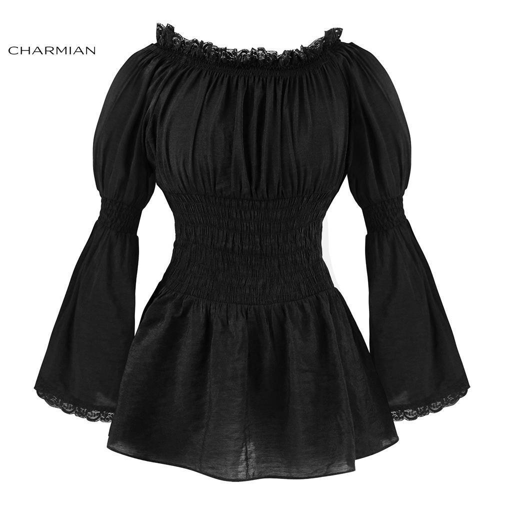 e8c8aa0410c8 Charmian Autumn Off Shoulder Top Vintage gótico victoriano Blusa Lolita  manga larga flare encaje Top Steampunk mujer ropa