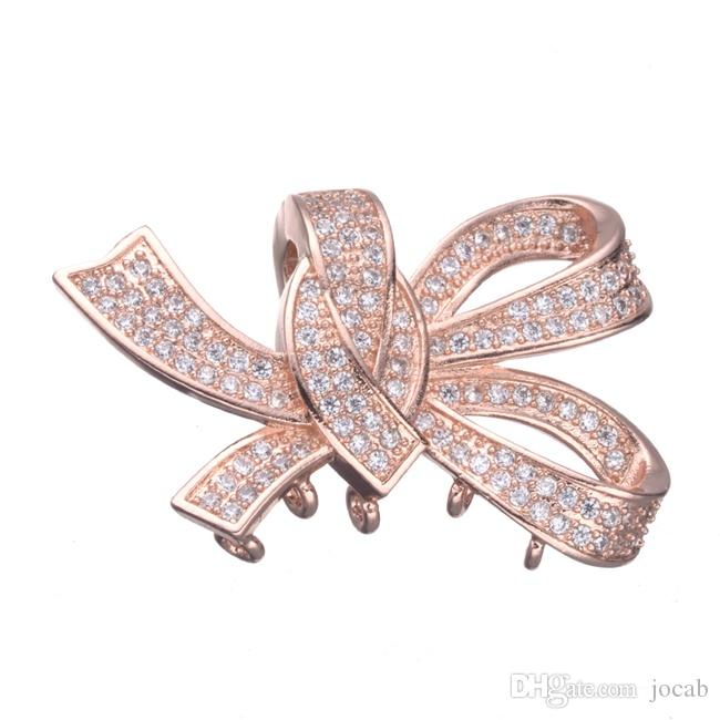 Wholesale Handmade DIY Jewelry Accessories Micro Pave Clear Zircon Charms Pendants Rhinestone Knot Connectors Findings Components Fittings