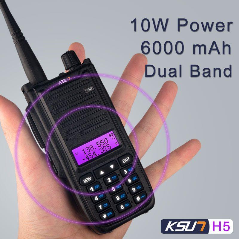 KSUN H2 Walkie Talkie H5 10W high power Dual Band Handheld Two Way Ham  Radio Communicator HF Transceiver Amateur Handy