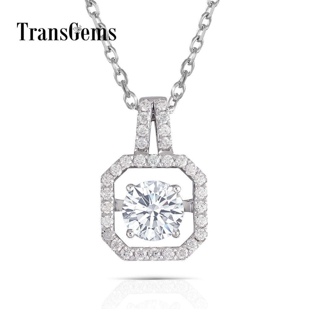 Transgems Solid 14K 585 White Gold Pendant Necklace Moissanite Center 1ct  6 5mm F color Floating Pendant for Women Jewelry Gift