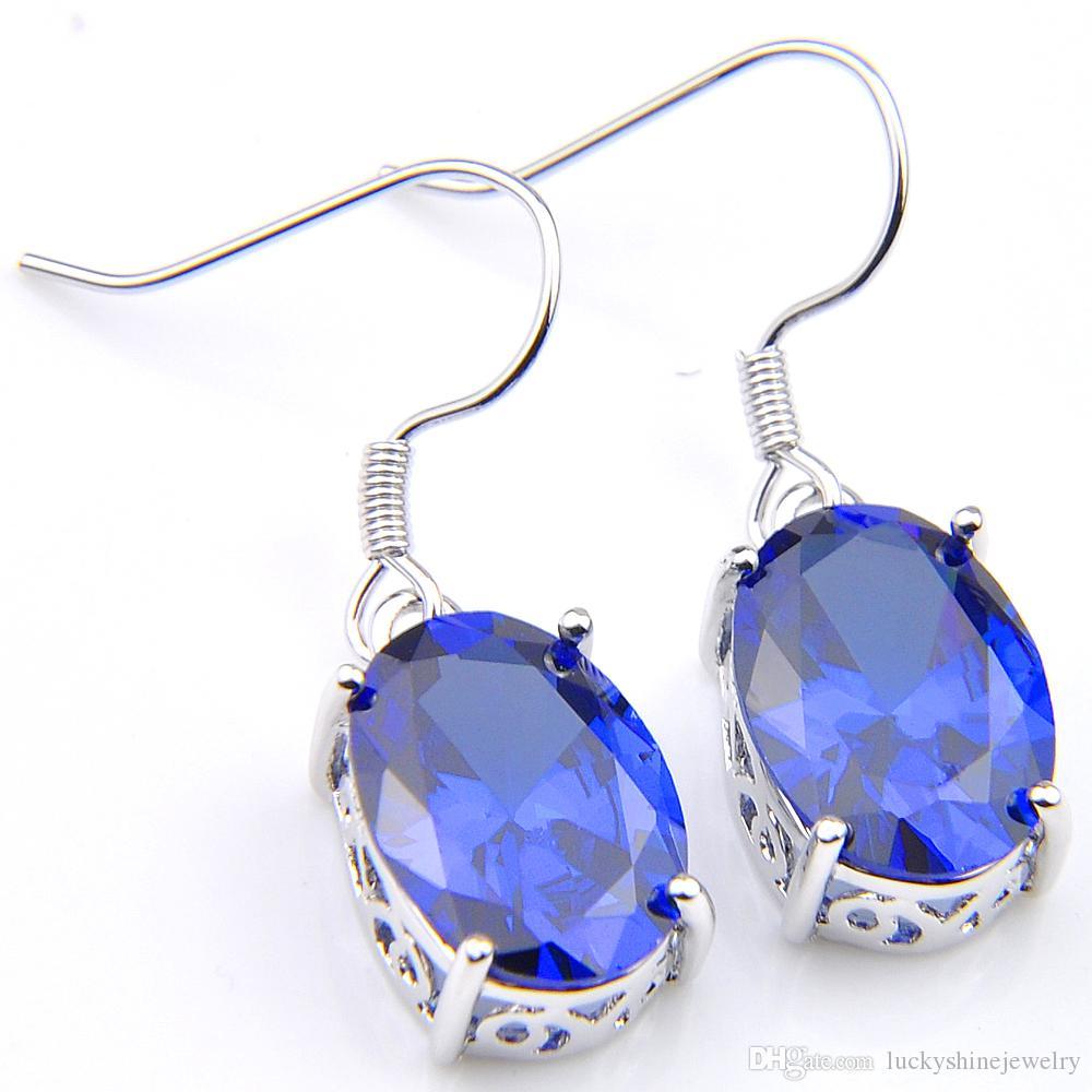 LuckyShine Crystal Zircon Ellipse Topacio azul pendientes y collar de cadena pendiente 925 plata mujeres moda boda conjuntos ¡ENVÍO GRATIS!