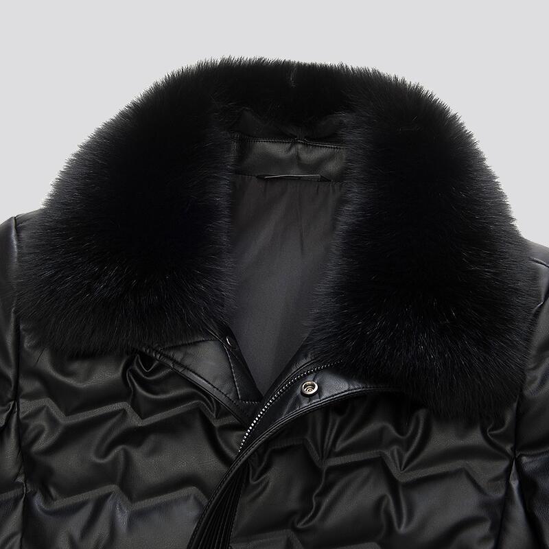 MUDI Abrigo de hombre abajo Abrigo de PU Winer Chaqueta de 90% Pato blanco Parka Chaqueta de invierno cálido con Big Fox Chaqueta a prueba de viento de piel real 5XL 6XL