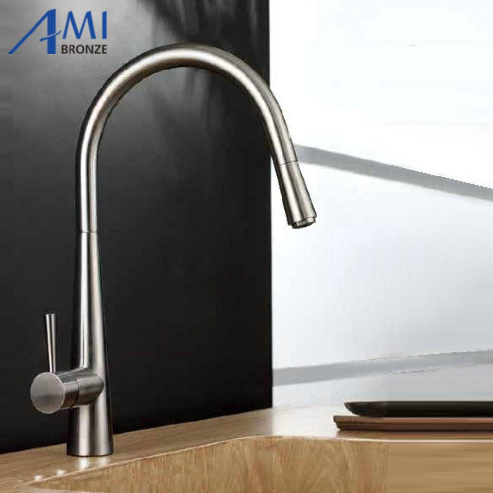 Online Cheap Pull Out Kitchen Faucet Brushed Nickel Basin Sink Mixer ...