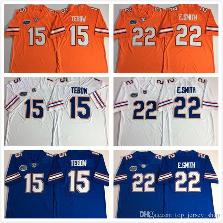free shipping 7b003 d7691 Men NCAA Florida Gators jersey 22 Emmitt Smith Orange Blue WhiteTebow 15  College football jerseys