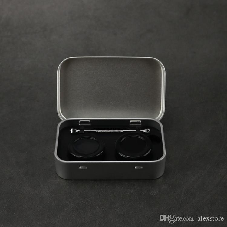 4 in 1 kit di stoccaggio in silicone di latta impostato con 2 pz 5ml contenitore di cera del silicio contenitore di cera del barattolo del barattolo dell'olio dell'argento dell'articolo dell'articolo della scatola del metallo della cassa del metallo DHL