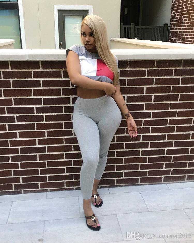 Women shorts sets Casual Women Set Solid O-neck Short Sleeve Sports Clothing Elasticity Long Pants Bodycon Set