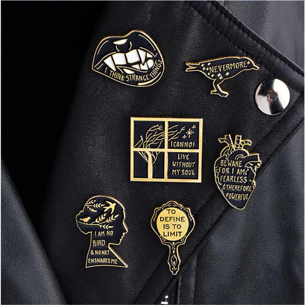 Komi Lip Lark Heart Pins Loner Brooch Lapel Pin Button Clothes Bag Badges Punk Pin Buckle Badge For Women Girl Men Gift I 151