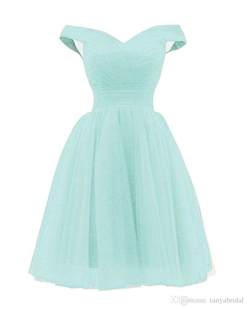 Robe Demoiselle D Honneur 2018 New Tulle Boat Neck Short Sleeve A Line Knee  Length Mint Green Bridesmaid Dresses Cheap Elegant Prom Dresses Evening  Dresses ... ac2657d6fdc0