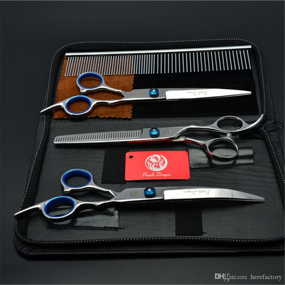 """Suit 6"""" 17.5cm Purple Dragon Pets Hair Grooming Shears Steel Comb+Cutting+Thinning Scissor+Down Curved Shears Cat Hair Clipper Z3001"""