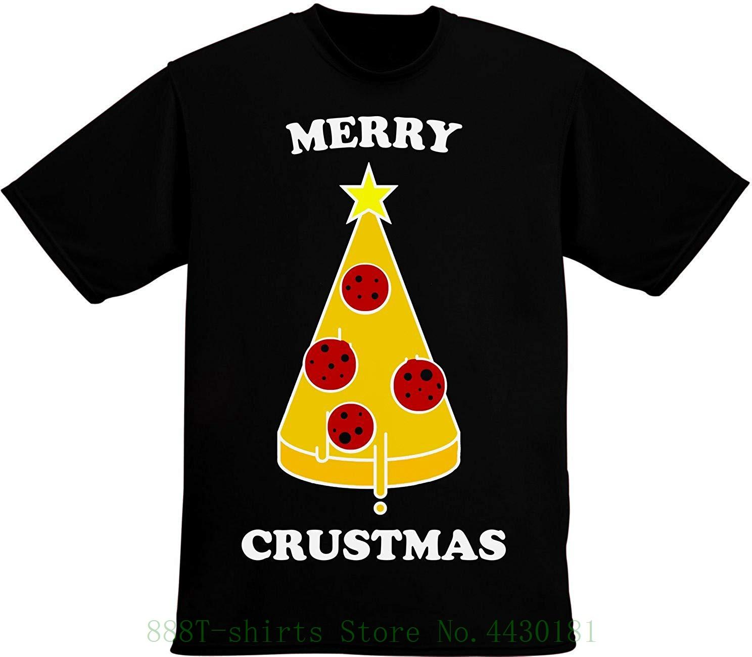 4b50aaa7 Merry Crustmas Funny Christmas Tree Made Of Delicious Pizza Slice Men's T  Shirt Pour Hommes Hipster Tee Shirt Homme