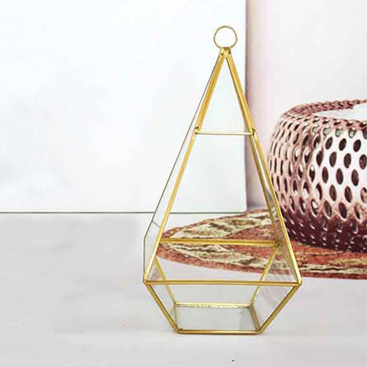 New Miniature Glass Terrarium Geometric Diamond Desktop Garden Planter For Indoor Gardening Home Decor Vases WX9-476