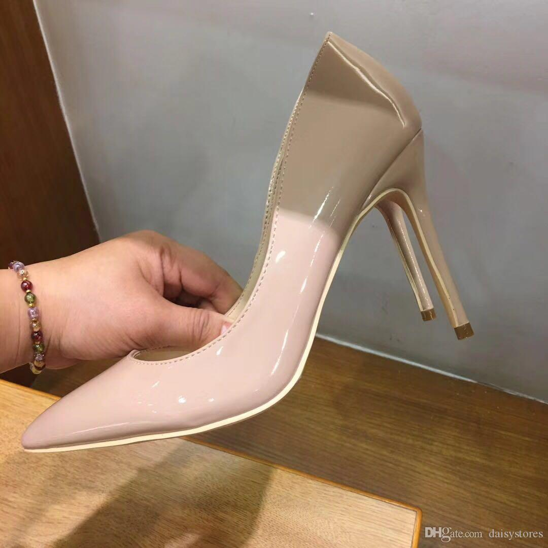 2018 High Heels Shoes Women Patent Leather Shoes Sexy Pointed Toe Stiletto Women Wedding Shoes High Heels Women's Pumps