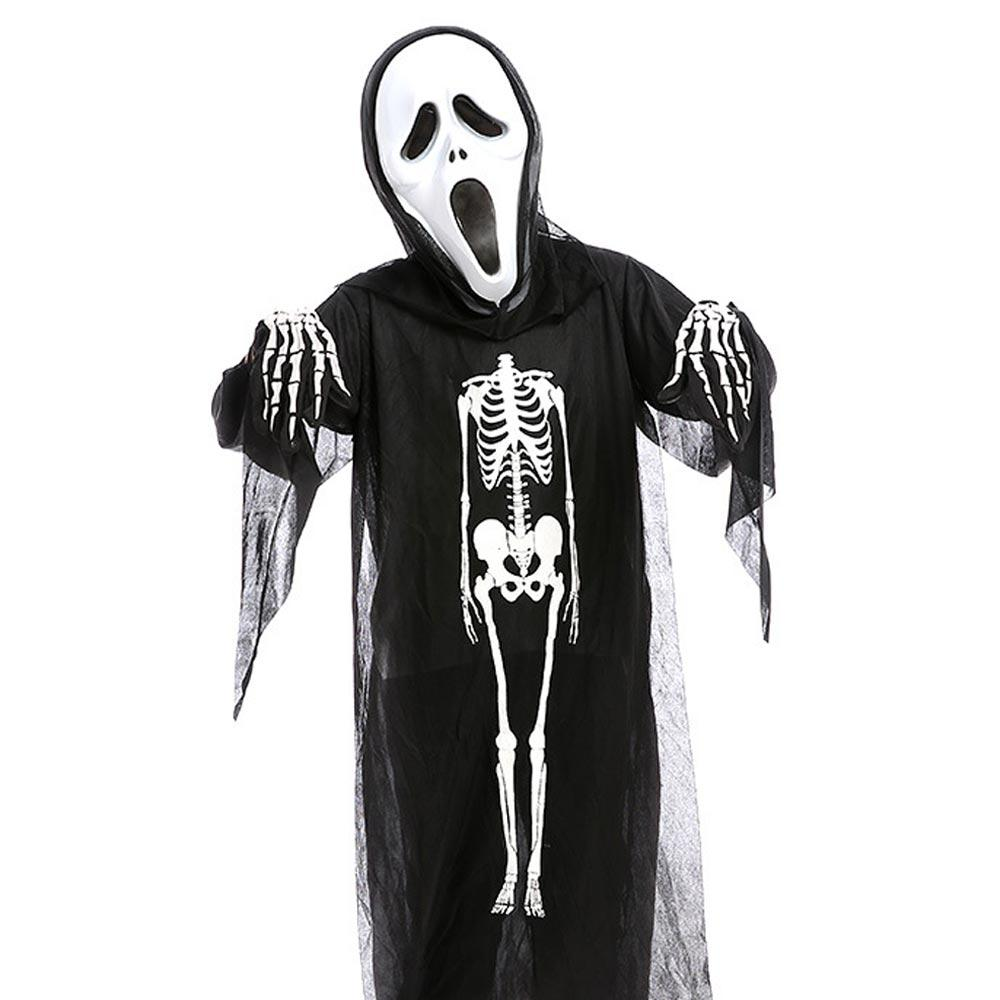 Horror Halloween Skull Skeleton Demon Ghost Cosplay Costume Mask Children  Kids Carnival Masquerade Party Black Robes Scary Mask Halloween Decorations  Easy ...