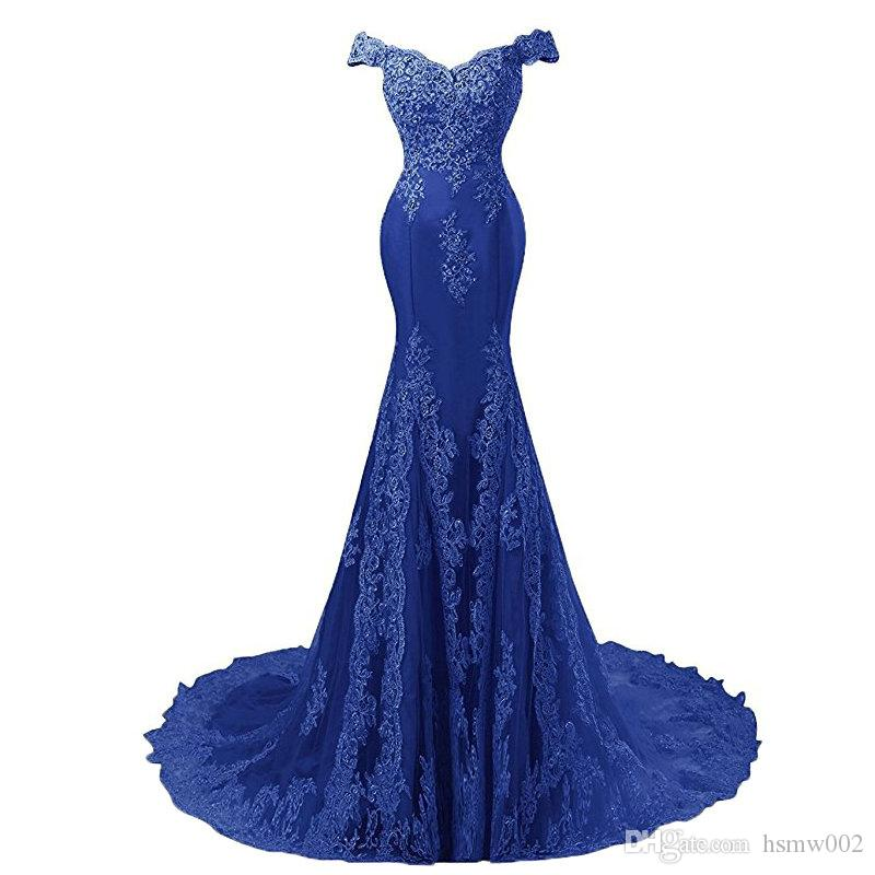 Real Picture Sexy Mermaid Evening Dresses Off The Shoulder Appliques Beaded Women Formal Dress Prom Party Gowns Vestido de Festa