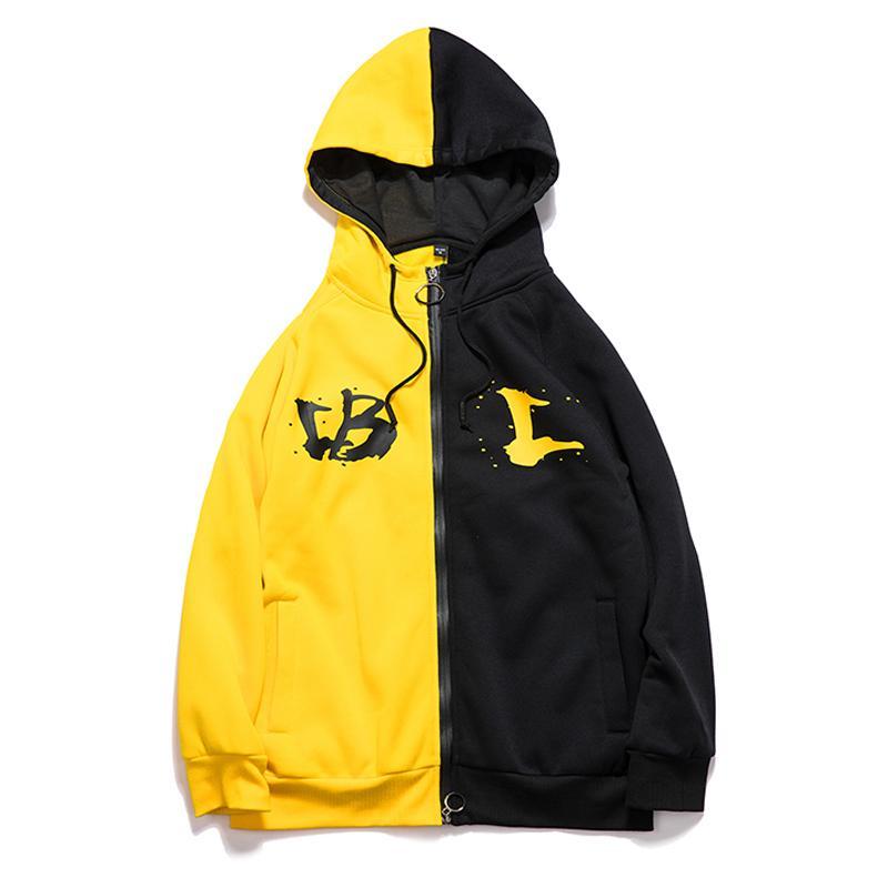 Großhandel Hip Hop Hoodies Männer 2018 Mode Sweatshirts Reißverschluss  Fleece Warme Patchwork Gelb   Schwarz Marke Hoodies Sweatshirts EU Größe  2XL Von ... fb40e291e8